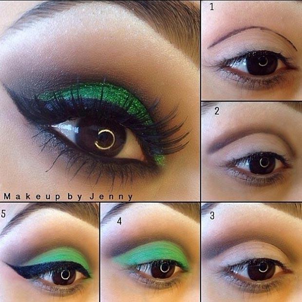 Зеленый макияж глаз взгляд для карих глаз