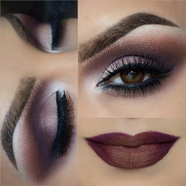 Коричневый макияж глаз с коричневыми губами выглядят