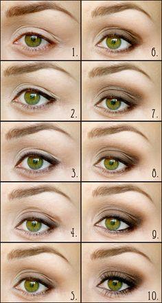 Макияж для узких зелёных глаз