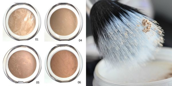 Для жирной кожи лучше использовать пудру (на фото слева — оттенки компактной запеченной пудры PUPA Luminys Baked Face Powder), и наносить ее кистью с двойным ворсом (на фото справа)