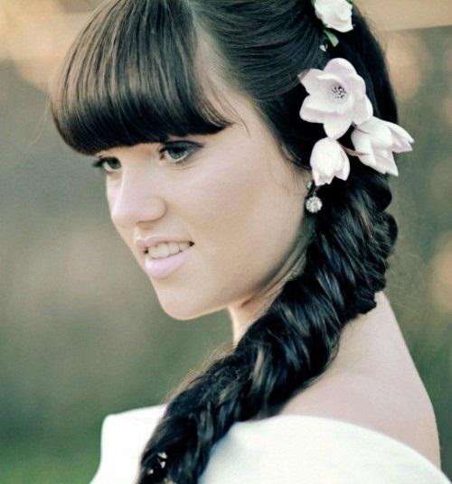 свадебные прически с челкой фото новинки