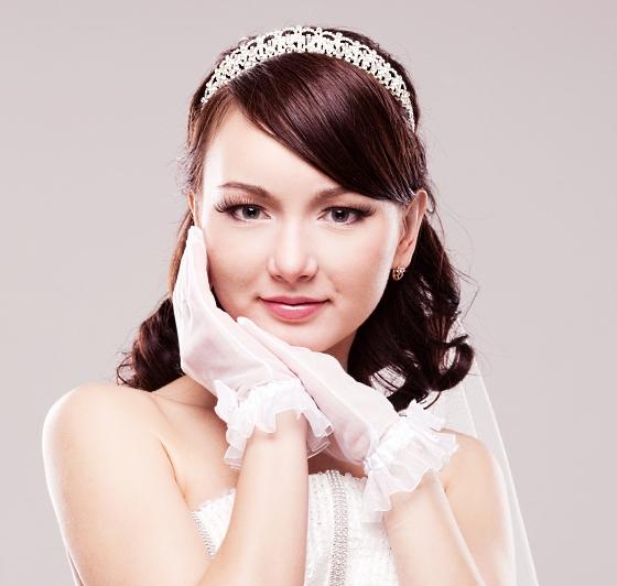 свадебные прически с челкой и фатой фото