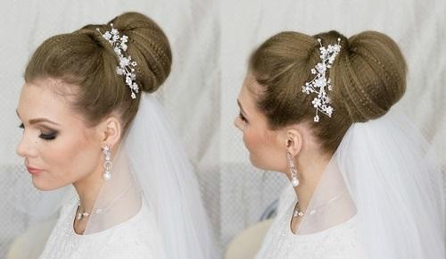 свадебные прически с челкой на средние волосы