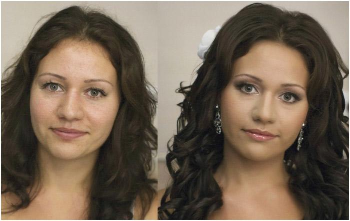До и после нанесения праздничного мейкапа