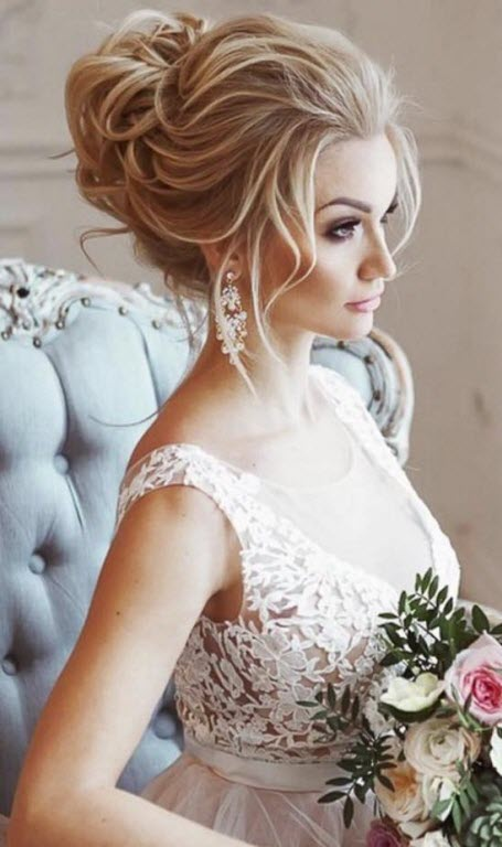 Свадебная прическа - объемный пучок