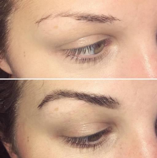 брови до после макияжа