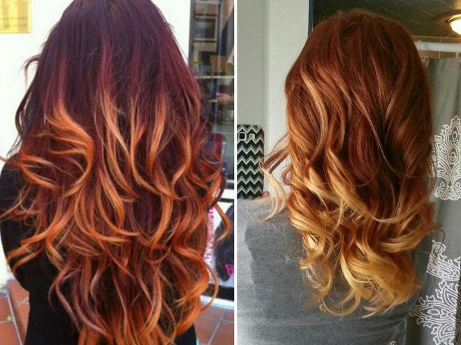 так выглядит балаяж на рыжих волосах