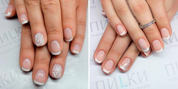 белый френч на короткие ногти с рисунком
