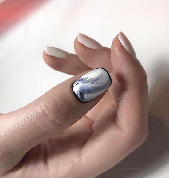 Белый нейл-дизайн на коротких ногтях