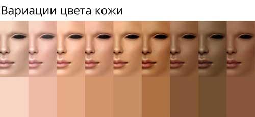 вариации цвета кожи