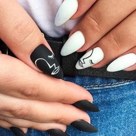 Модный дизайн маникюра с белым гель-лаком на миндалевидные ногти: фото 2020