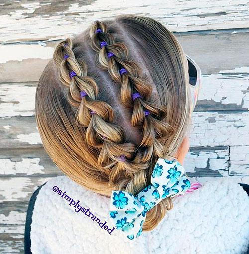 Диагональные вытянутые косы для девочек