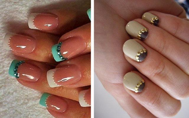 Выкладка стразами на ногтях