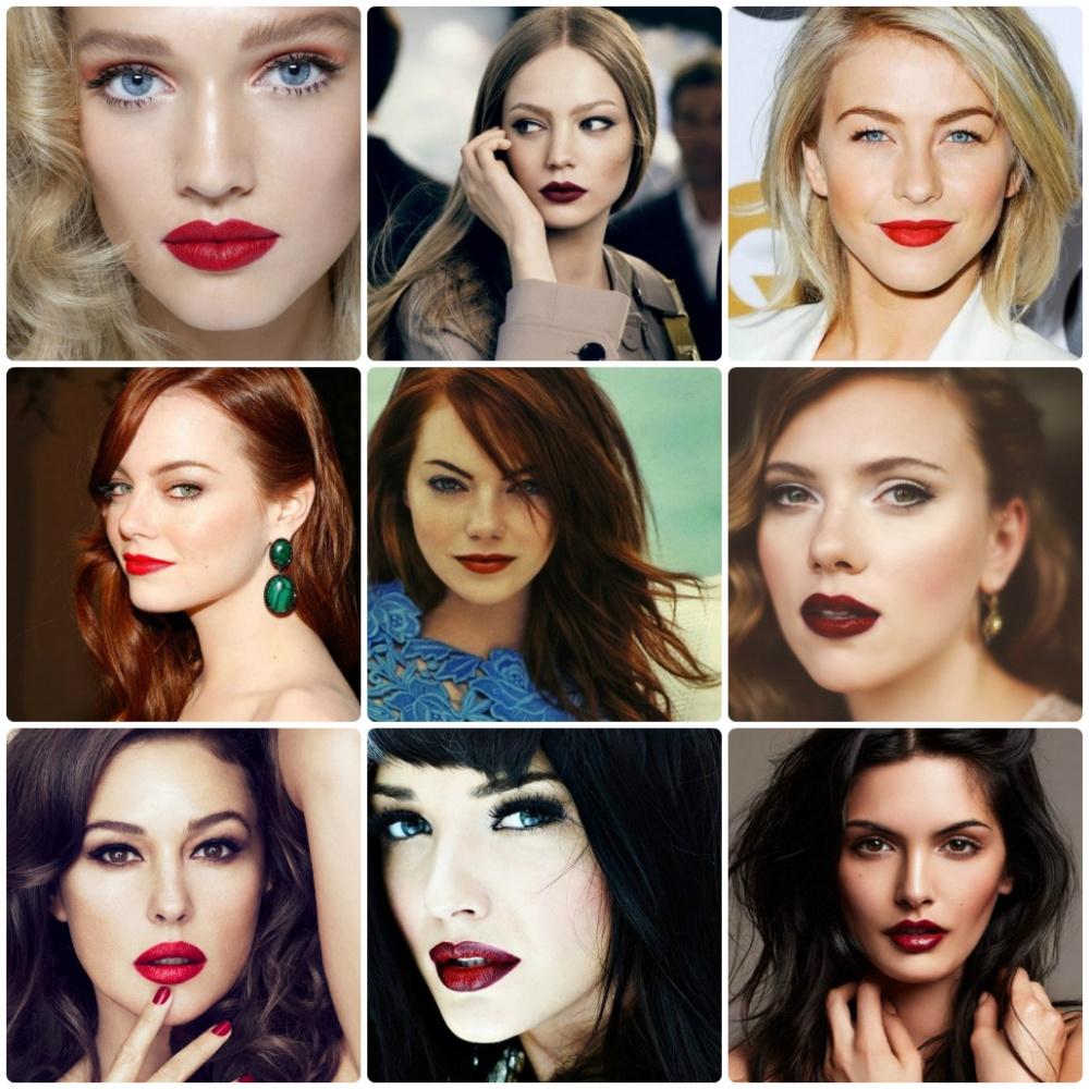 красные губы на блондинках брюнетках и рыжих