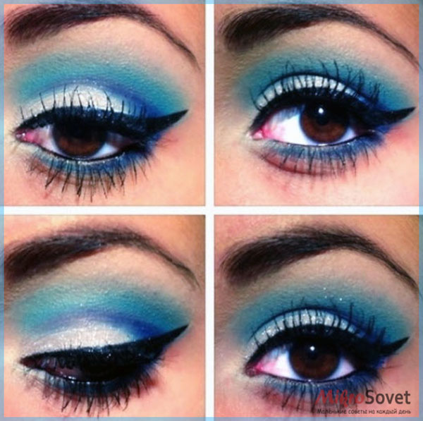 Фото: Синий макияж для карих глаз