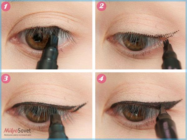 Фото: Прорисовывают тонкую линию обычной жидкой подводкой или косметическим карандашом вокруг контура глаз