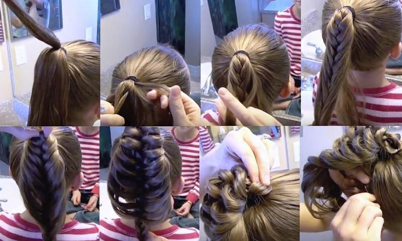 Ажурная коса на хвосте с пошаговым объяснением, фото