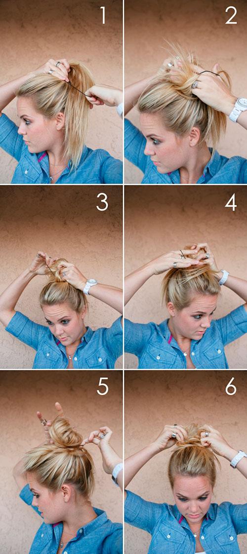 Легкий небрежный пучок за 5 минут-подробная инструкция