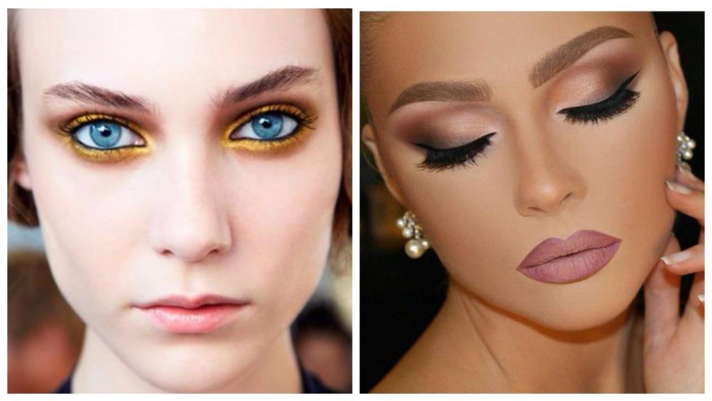 вечерний макияж для русых волос и голубых глаз разный