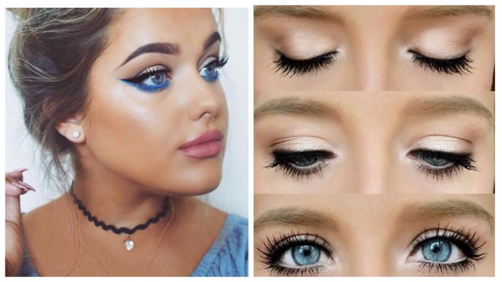 вечерний макияж для русых волос и голубых глаз яркий