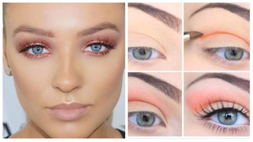 макияж для голубых глаз с персиковыми тенями светлый
