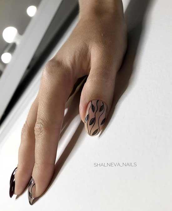 Бежевый с черным маникюр на длинные ногти