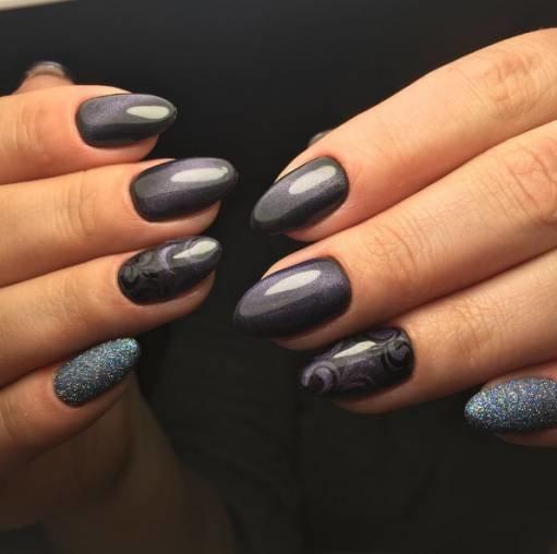 серые акриловые ногти