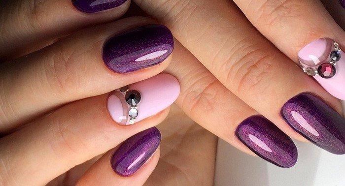 фиолетово-розовые ногти