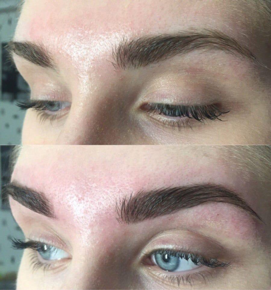 Окрашивание бровей хной у девушки до и после
