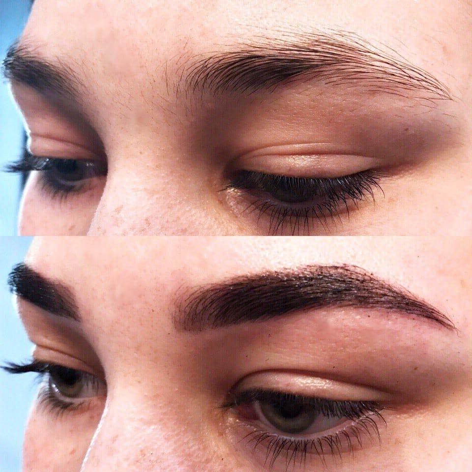 Фото до и после окрашивания бровей хной