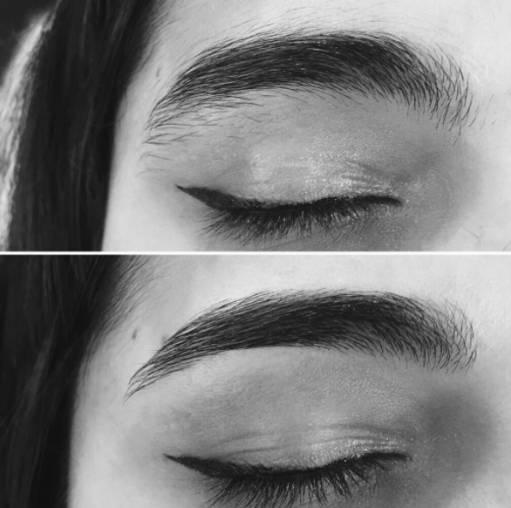 макияж бровей до и после