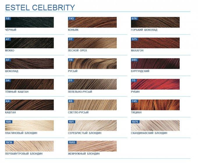 Палитра красок для волос Estel Celebrity