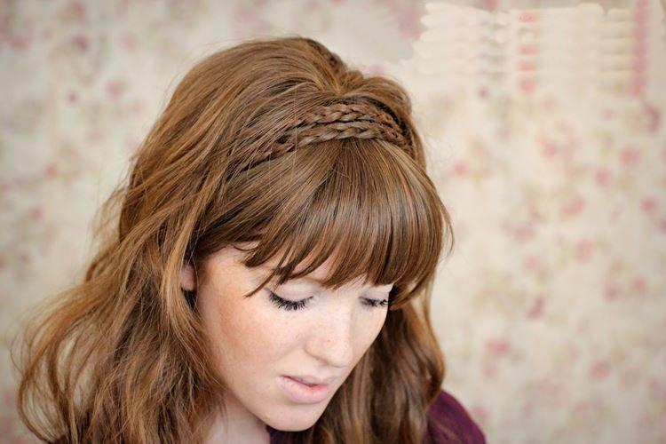 Объемная прическа с челкой - Прически на длинные волосы на каждый день