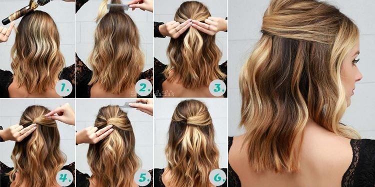 Объемная мальвинка - Прически на каждый день на средние волосы