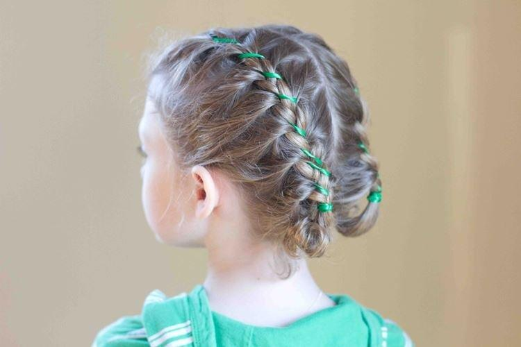 Колоски с лентами - Прически на средние волосы для девочек