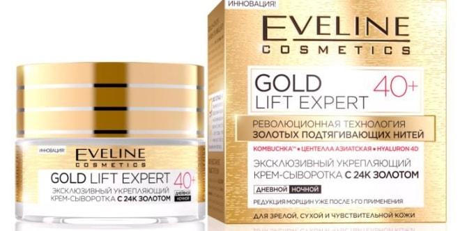 Хороший крем для чувствительной кожи лица после 40 лет «Gold Lift Expert» от Eveline Cosmetics