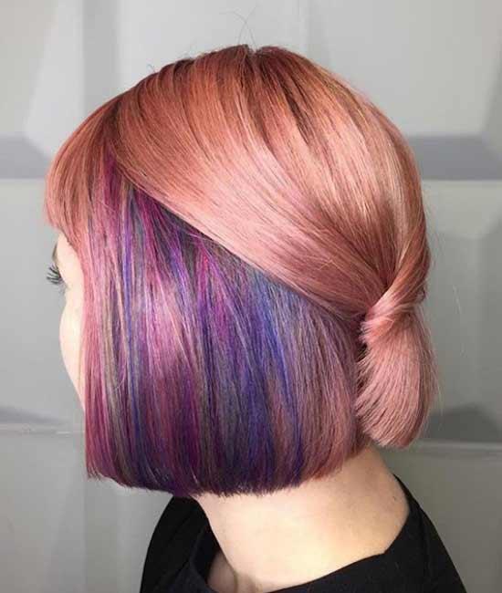 Модная стрижка и окрашивание волос средней длины
