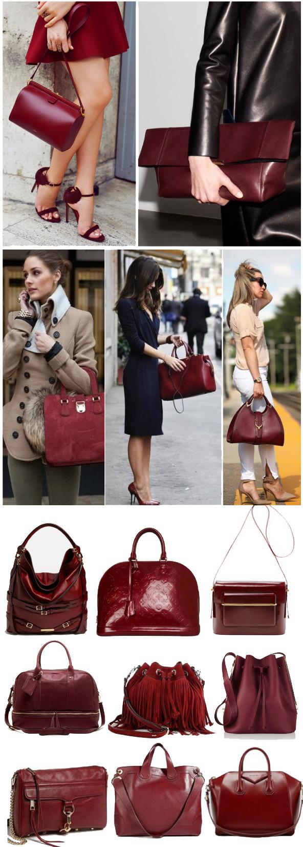 сумки бордового цвета