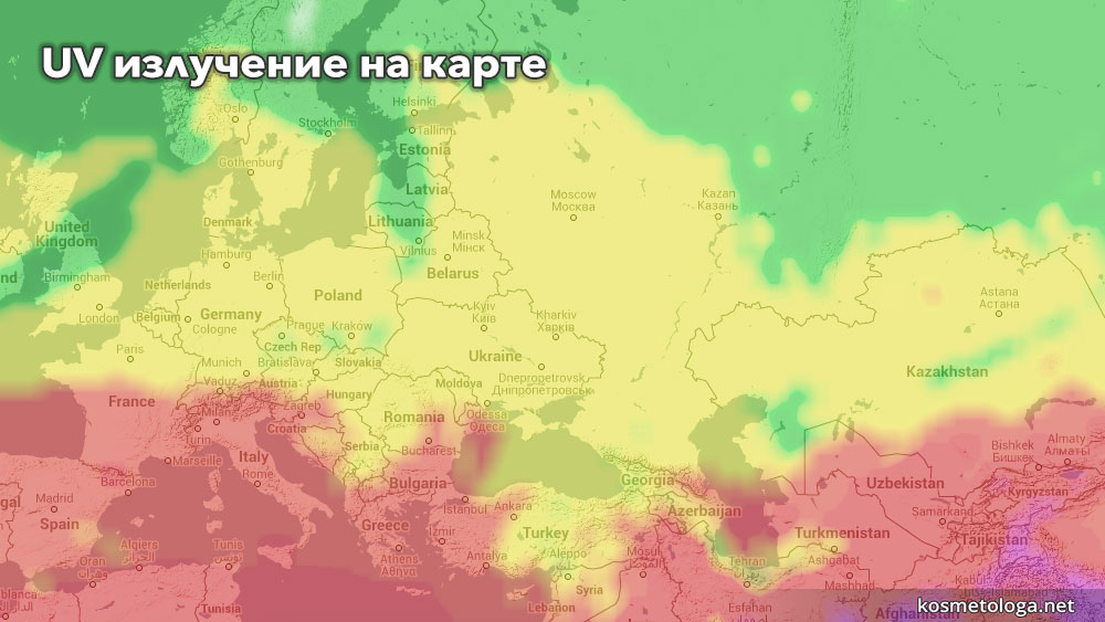 Карта ультрафиолетового излучения по состоянию на 12 апреля 2015
