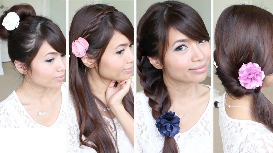 Варианты причесок с собранными волосами в хвост и косами, декорированными цветами