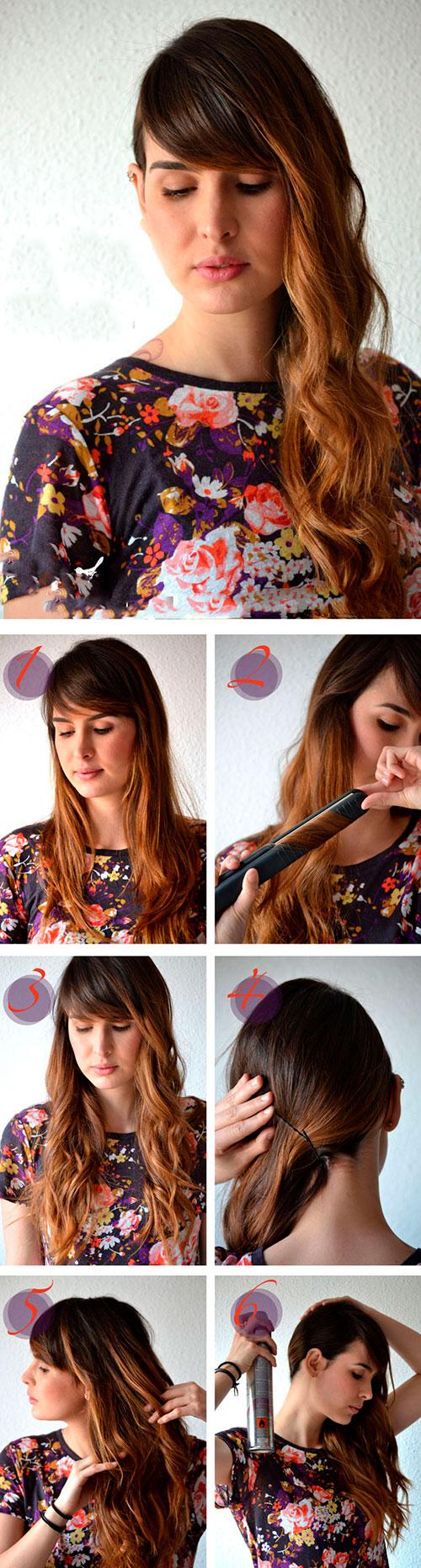 Волосы набок