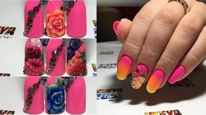Vseya rusi, фрукты на ногтях, маникюр фото