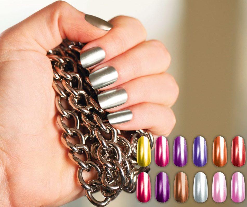 Зеркальный дизайн ногтей в пигментами